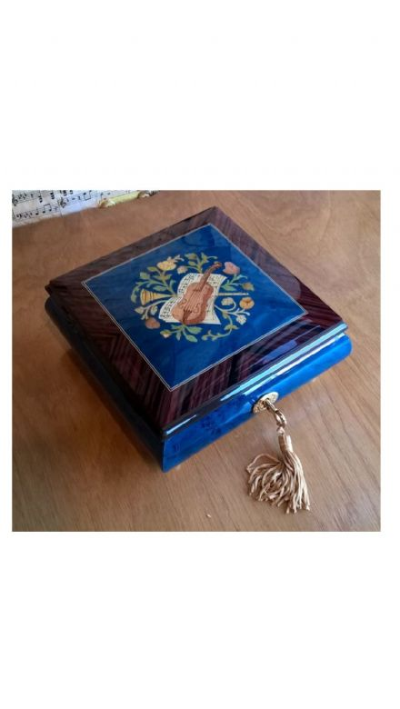 Italian Inlaid Musical Ballerina Jewellery Box 46/5SG Blue